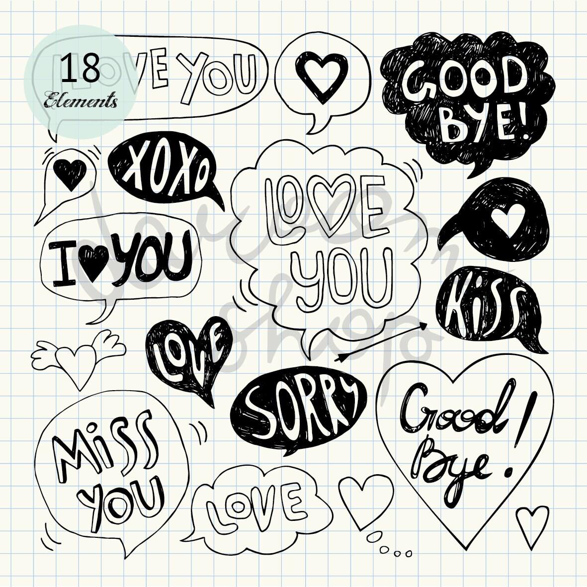 love speech bubble clip art/valentine clipart/love letter | etsy