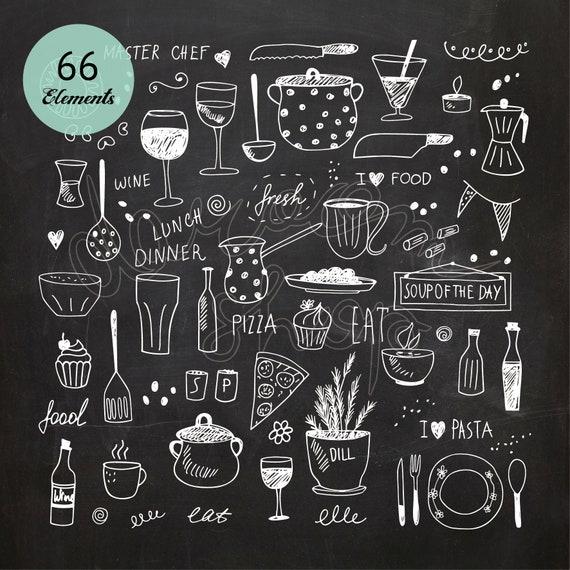 Dessin De Craie à La Main Dessinée Ustensiles De Cuisine Cuisine Doodle Nourriture Clip Art Tableau Doodle Craie Menu Eps Png Boisson Clipart