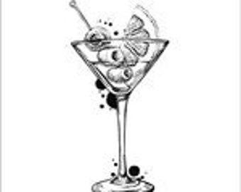 Carabelle Studio, Cocktail, Summer Drink, Rubber Stamps, Paper Craft, Card Making
