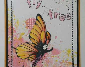 Fly Free Tutorial, Butterfly Girl, Card Class, Rubber Dance Stamps, Workshop, Class, Card Making Tutorial, Distress Oxides, Distress Ink