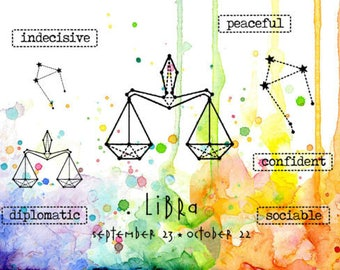 Zodiac Stamp, Libra, Visible Image, Papercraft, Clear Stamp, Zodiac Sign