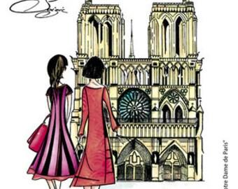 Notre Dame de Paris, Carabelle Studio, Paris, France, Rubber Stamp, Card Making, Paper Craft, Stamp, Notre Dame, Modern Lady, Feminine Stamp