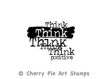 Cherry Pie Stamp, Rubber Stamp, Papercraft, Think Positive, Word Stamp,