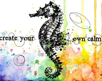 Visible Image, Create Your Calm, Seahorse Stamp, Clear Stamp, Papercraft