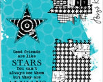 Reach For The Stars, Carabelle Studio, Mixed Media, Rubber Stamp, Card Making, Paper Craft, Text Stamp, Background Stamp