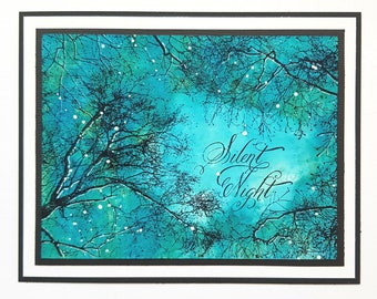 Silent Night Tutorial, Silent Night, Card Class, Stampendous, Workshop, Class, Card Making Tutorial, Alcohol Inks