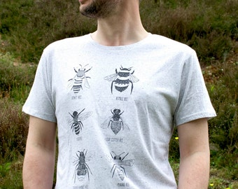 100% Organic Mens T-shirt, hand screen printed with eco-friendly inks Bee Tee, showing a variety of 6 Bees.