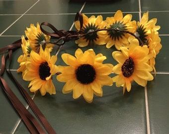 "chose color ribbon twine adjustable 3"" sunflower festival beach beach barn bridal party flower girl halo flower head wreath headpiece crown"