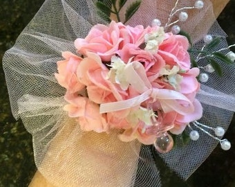 pacifier baby shower corsage your color tulle and rose wrist corsage