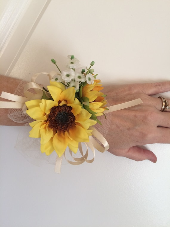 chose color rose ribbon and tulle sunflower rose wrist corsage white ivory navy peach blue red yellow green turquoise orange black teal pink