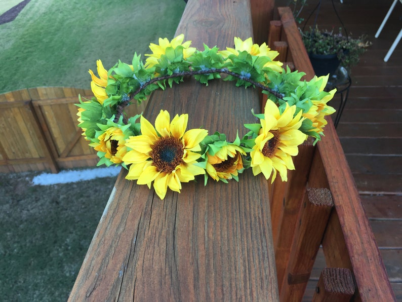 fitted  premium sunflower wedding festival hippie beach barn flower girl bridal halo flower head wreath headpiece crown