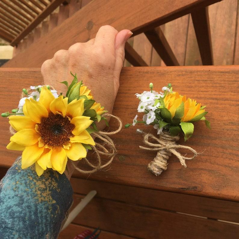 sunflower twine wedding prom wrist corsage or pin on boutonniere set