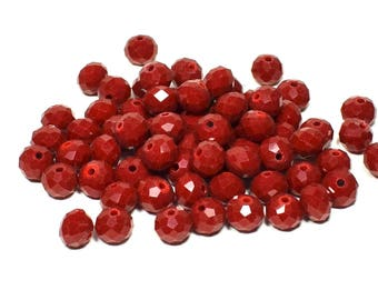 70 beads faceted glass, faceted rondelle 6mm x 7mm - dark red