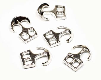 8 silver plated anchor hook clasps