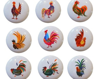 Fancy Colorful Rooster Knobs Pulls Decorative for Cabinets or Drawers Set of 9