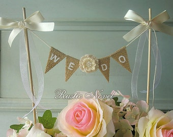 Wedding Cake Topper, Burlap Cake Bunting, Rustic Wedding Cake Banner