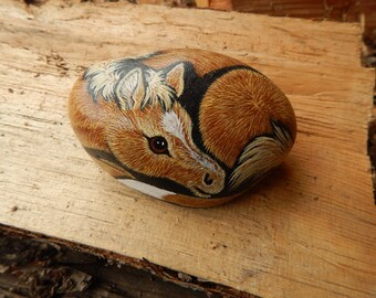 Horse Painted Rock, Palomino Foal Painted Rock, Painted Horse Rock, Horse Art
