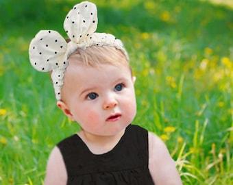 Adorable Black and White Polka Dot Headband, Bunny ear headband, Polka Dot Bunny ears, Elastic headband, Toddler rabbit ear headband,Fabric