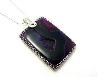 Purple agate pendant, purple druzy agate pendant, agate pendant, silver agate pendant, wire wrapped agate pendant, mothers day gift