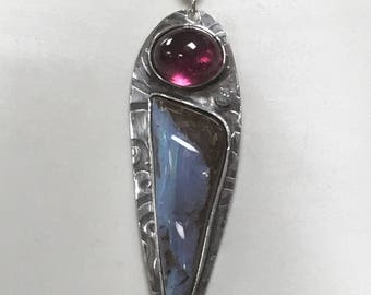 Pink Tourmaline and Boulder Opal Pendant