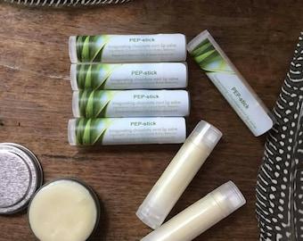 Pep-stick lip salve 5-pack ; Lip balm; Peppermint-Cocoa lip balm; Cocoa-Peppermint lip balm; Peppermint lip balm; Peppermint lip salve;