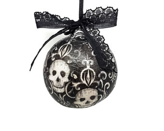 skull gothic christmas bauble ornate tree decorations