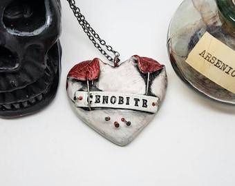 Hellraiser necklace, Cenobite, Horror Movie, Heart necklace, Pinhead, Clive Barker, Doug Bradley, Horror valentine, gothic valentine