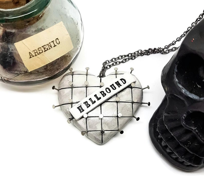 Hellraiser necklace pinhead necklace horror necklace white heart necklace