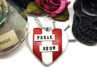 Circus freak necklace, Freak Show, American Horror Story, AHS, Nails, Sideshow, Circus, Freaks, Valentines, Horror Heart