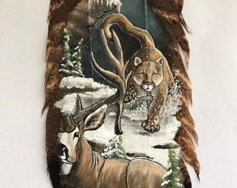 Mountain Lion Art, Original Artwork Painted on a Turkey Tail Feather
