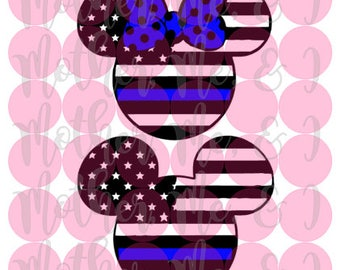 Thin Blue Line Mickey Minnie / Disney / Police / Flag SVG DXF PNG Cut File Download Cricut Silhouette Design for Shirts, Scrapbooks Disney