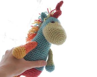 Unicorn crochet pattern, Amigurumi Unicorn toy plushie