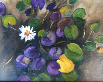 Lotus Flowers Original oil on canvas, Small Painting, Green Violet, Small Format Art SFA, Water Garden Lilly Pads, Italian Art, Italy o/c