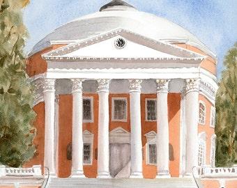 UVA Rotunda Original Watercolor University of Virginia small watercolor - U.VA Painting UVA Cavaliers - Charlottesville Art - College Art