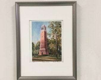 Alabama Denny Chimes Print Limited Edition, Alabama The Tower,University AL hand signed giclee print, Tuscaloosa AL print, Crimson Tide Art