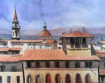 Florence Rooftops Original Watercolor Landscape, City Architecture Painting, Small Tuscany painting, Florence Italy Art, blue-violet orange