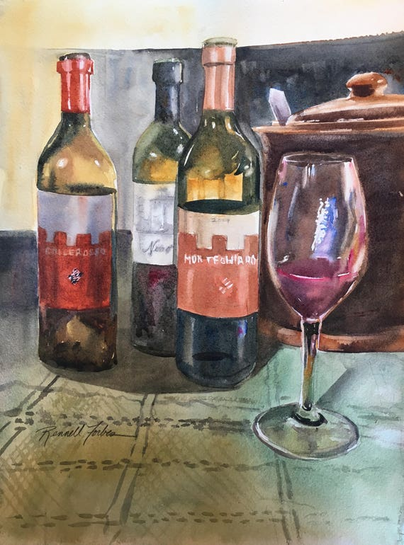 Wine Tasting Original Watercolor Still Life Glass Etsy