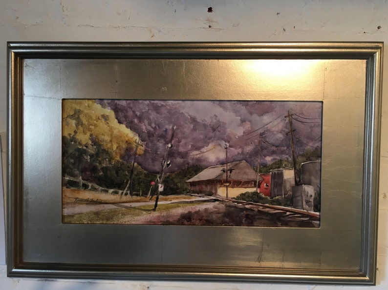 Stone Mountain Depot Original Watercolor Landscape Painting Etsy