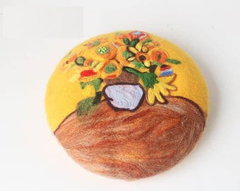 c477bbe858037 Needle Felted French Beret Hat  Van Gogh s Sunflower