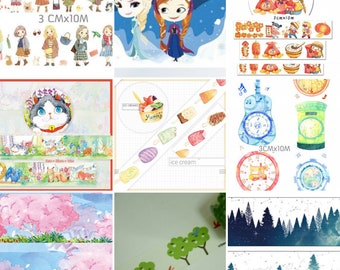Winter Frozen Theme Snowflakes Washi Tape Watercolor Illustration Cool Blue Colors