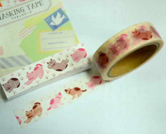 1 Roll of Japanese Washi Masking Tape (15mm x 6m) - Stretching Cat