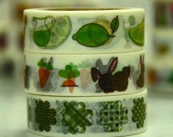 3 Rolls of Japanese Washi Masking Tape Roll- Spring Time