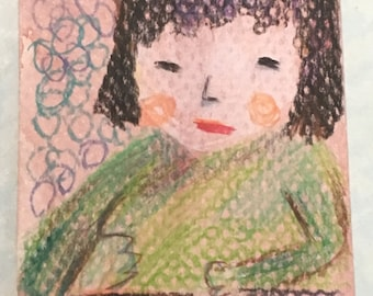 Original ACEO Watercolor Painting- Little Girl