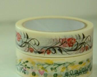 2 Rolls of Japanese Washi Masking Tape (15mm x 10m) - Floral Motif