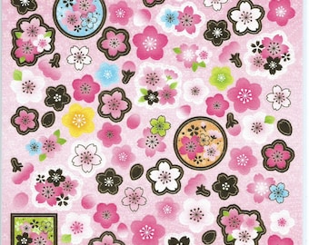 Japanese Paper Stickers - Japanese Traditional Sakura Blossom Motifs