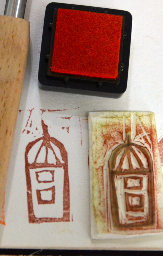 An Onion Dome Building -Handmade unmounted Rubber stamp