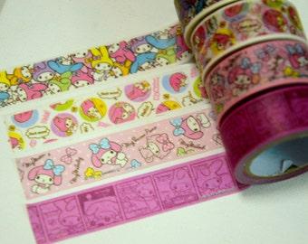 A Set of 4 Rolls Japanese Washi Masking Paper Tape: My Melody