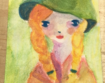 Original ACEO Watercolor Painting: Girl with a Green Hat
