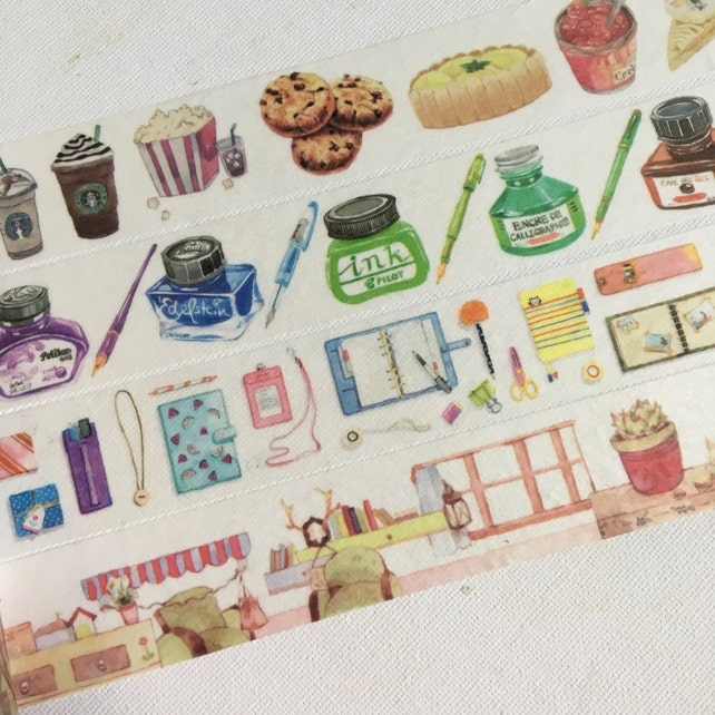 1 Roll of Limited Edition Washi Tape: (Pick 1) Yummy Sweet Snack,  Color Ink,  Daily Diary, or Warm Home