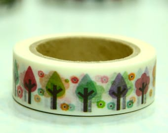 1 Roll of Japanese Washi Masking Tape Roll- Trees